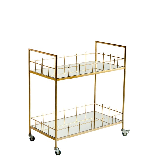Carrie Metal & Glass Bar Cart For Sale - Image 4 of 4