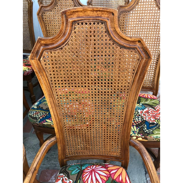 1970s Vintage Cane Back Dining Chairs- Set of 8 With Schumacher Fabric, Chiang-Mai Pattern For Sale - Image 9 of 12
