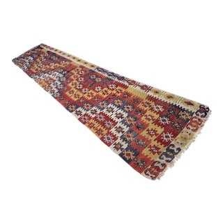 1970s Handmade Vintage Turkish Kilim Rug Runner - 3′1″ × 15′ For Sale