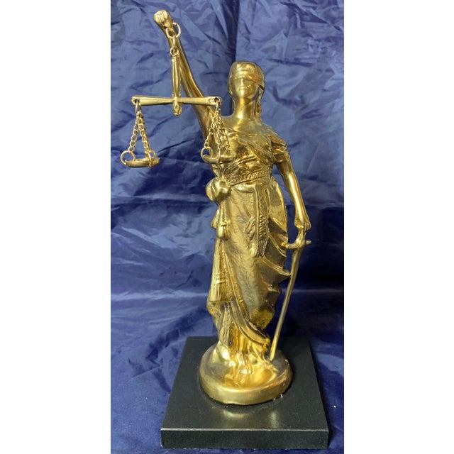 Vintage Blind Justice Gold Metal Spelter Figurine For Sale - Image 10 of 13