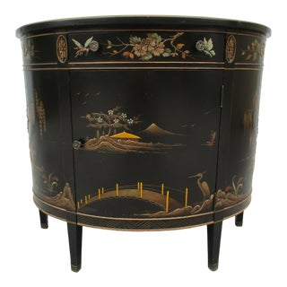 20th Century Chinoiserie Black Lacquered Demi-Lune Commode or Cabinet For Sale