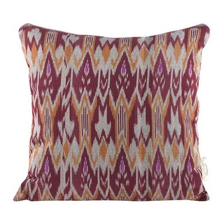 Burgundy & Orange Zig Zag Ikat Throw Pillow
