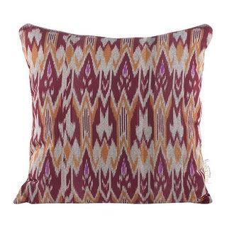 Burgundy & Orange Zig Zag Ikat Throw Pillow For Sale
