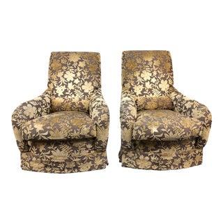 Custom J. F. Fitzgerald Velvet Arm Chairs - a Pair