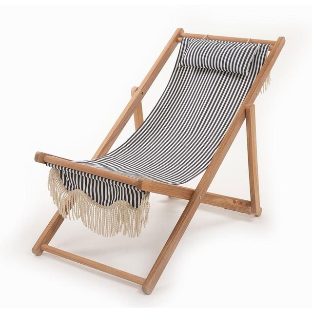 Contemporary Sling Outdoor Chair - Lauren's Navy Stripe with Fringe For Sale - Image 3 of 3