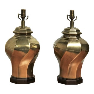 Modernist Orientalism Brass Table Lamps - a Pair For Sale