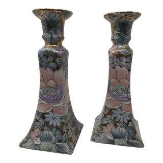 Vintage Macau Chinoiserie Candle Holders - a Pair For Sale