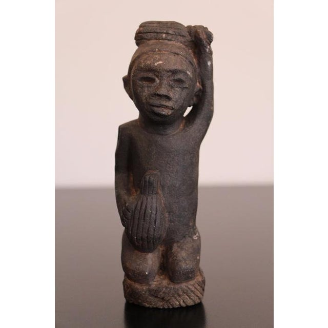 African Tribal Art The Worker Statue Carved Stone Figurine For Sale - Image 6 of 6