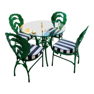 Vintage Banana Leaf Back Design Cast Iron Kelly Green 5 Piece Patio Table Chairs W/ Black White Stripes For Sale