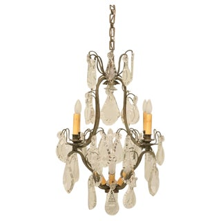 c.1920 Exquisite French Crystal 9 Light Chandelier For Sale