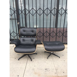 Modern Mid Century Lounger & Ottoman- Black and Walnut Preview