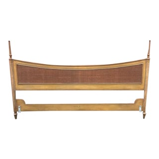 1960s Mid-Century Modern Wood and Reed King Size Headboard For Sale