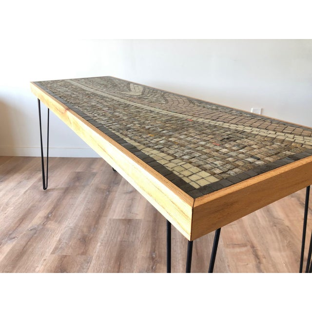 Vintage Wood Framed Tile Mosaic Sofa Table With Hairpin Legs For Sale - Image 11 of 13