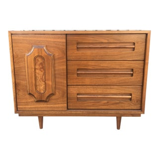 Walnut & Burlwood Chest of Drawers For Sale