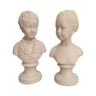 Petite Limoges Parian Ware Busts - a Pair For Sale