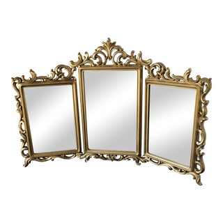 Syroco Mid-Century Gold-Tone Tri-Fold Vanity Mirror For Sale