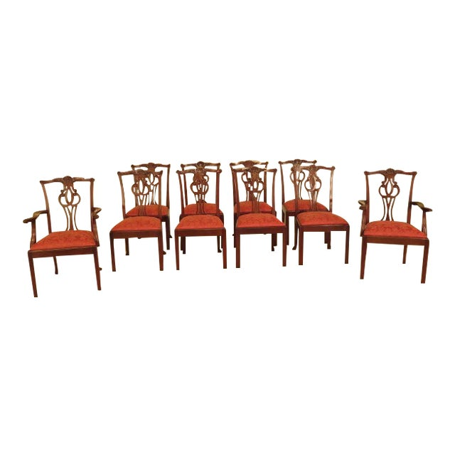 Baker Chippendale Mahogany Dining Room Chairs - Set of 10 For Sale