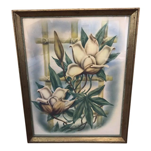 Mid Century Lotus Botanical Print by Ted Mundorff For Sale