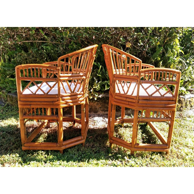 """Hand made and stunning in detail, pair of chinoiserie bamboo """"brighton"""" style chairs. Real bamboo; shaped, bent,..."""