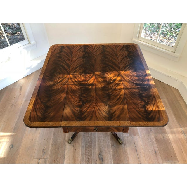 Metal 20th Century American Classical Drop-Leaf Library Table For Sale - Image 7 of 10