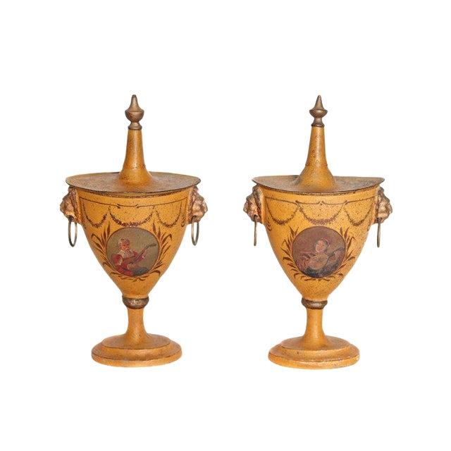A Pair of English Regency Tole Painted Chestnut Urns For Sale