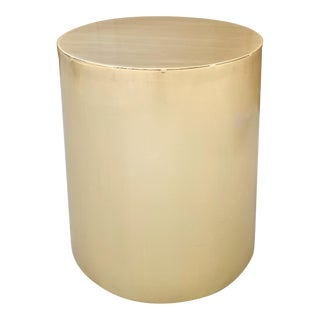 1970s Brass Drum Table For Sale
