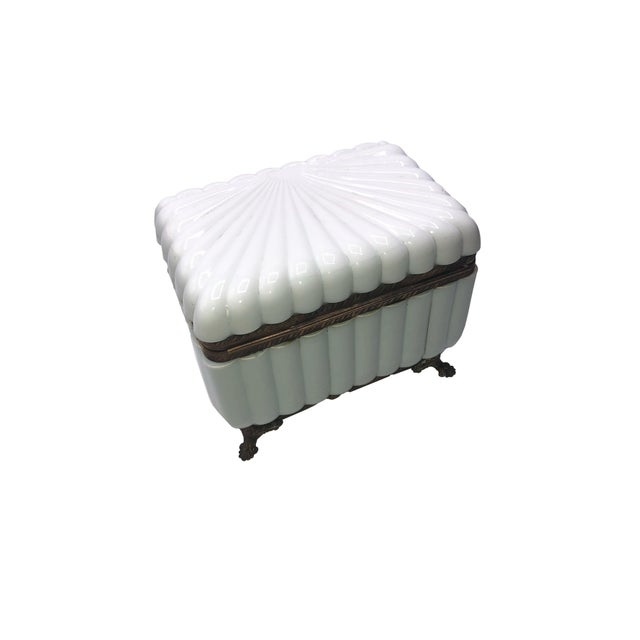French 1950s French White Opaline Glass Box For Sale - Image 3 of 11