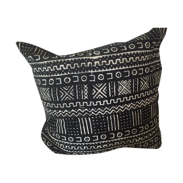 African Mud Cloth Black & White Pillow - Image 1 of 4