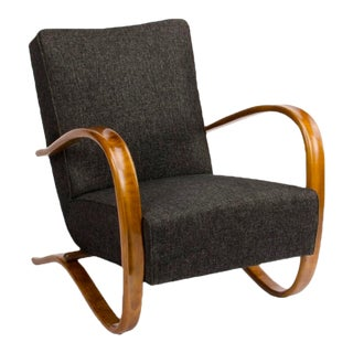 1930s Vintage A J.Halabala Art Deco Walnut Armchair For Sale