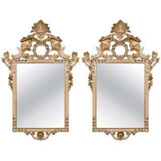 Pair of Parcel Gilt Beautifully Carved Italian Rococo Mirrors