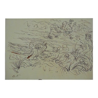 Mid 20th Century Original Signed Drawing By Artist D. Fredenthal For Sale