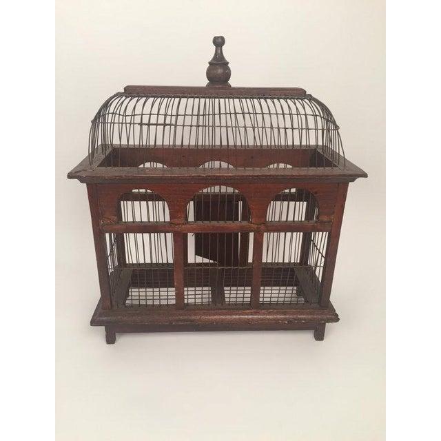 1940s Antique Wood & Metal Bird Cage - Image 4 of 6