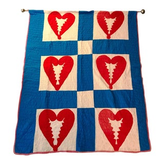 Handmade Antique Heart Quilt Tapestry For Sale
