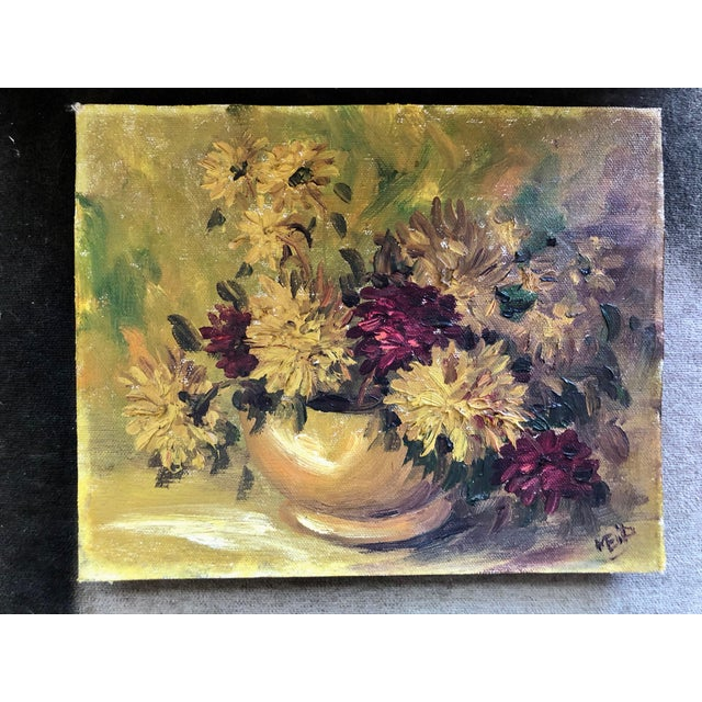 1940s 1940s Vintage Spider Mum Flowers in Vase Still Life Painting For Sale - Image 5 of 5