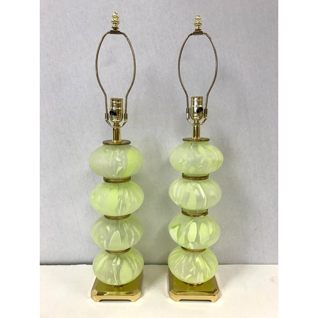 1960s Mid Century Modern Green Italian Murano Glass Ball Lamps - a Pair For Sale - Image 5 of 5