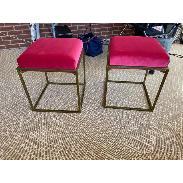 Modern Red Velvet and Brass Stools - a Pair For Sale - Image 3 of 3