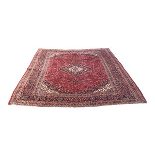 "Vintage Persian Red & Navy Blue Wool Rug - 9'9"" X 13'9"" For Sale"