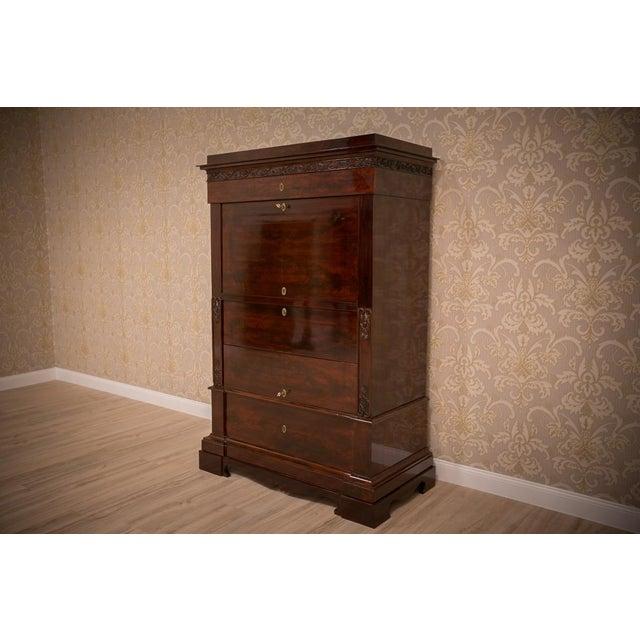 Brown Biedermeier Mahogany Secretary Desk, circa 1860, after Renovation For Sale - Image 8 of 9