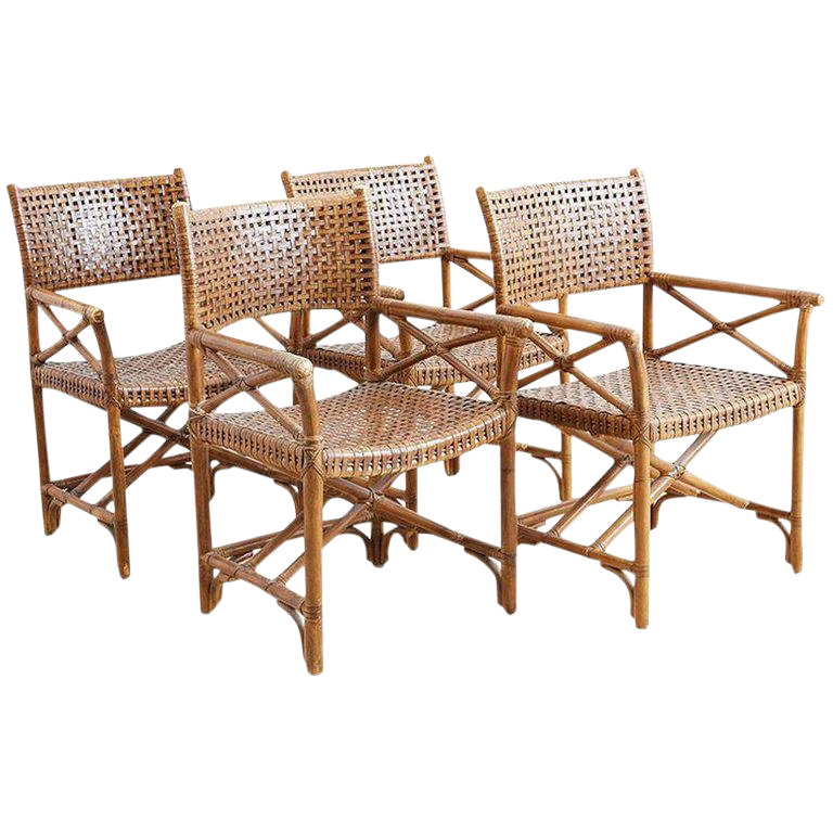 Mcguire Style Woven Leather Rattan Dining Chairs Chairish