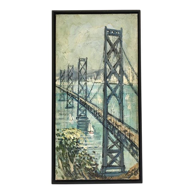 San Francisco - Oakland Bay Bridge Oil on Board For Sale
