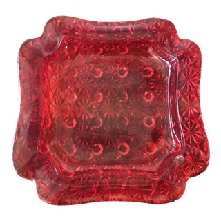 1960s Hollywood Regency Ruby Red Glass Ashtray