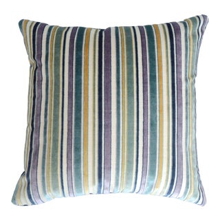FirmaMenta Italian Blue Stripes Velvet Pillow For Sale