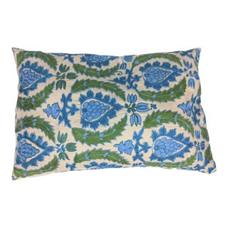 Blue & Green Handmade Suzani Pillow Cover For Sale