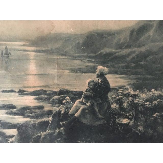 Vintage French Wooden Framed Print For Sale - Image 4 of 4