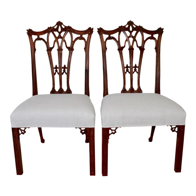 Mahogany Chinese Chippendale Hall Chairs - A Pair For Sale