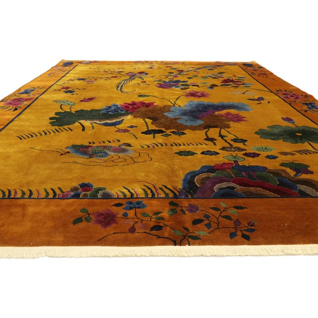 Art Deco Antique Chinese Pictorial Rug With Art Deco Style - 10'00 X 13'04 For Sale - Image 3 of 9