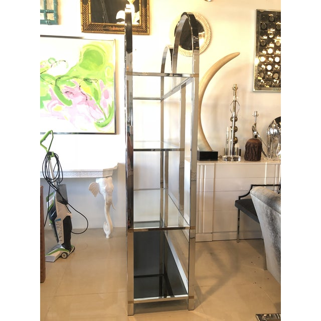 Vintage Arched Chrome Glass Display Shelf Shelves Etagere For Sale - Image 11 of 13
