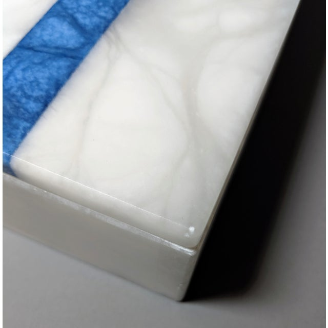Hermes Inspired Alabaster Box With Navy Blue Stripe For Sale - Image 12 of 13