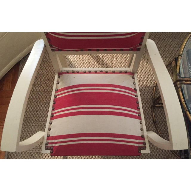 Pair, 1930's French ArmChairs, Red Stripes - Image 7 of 10