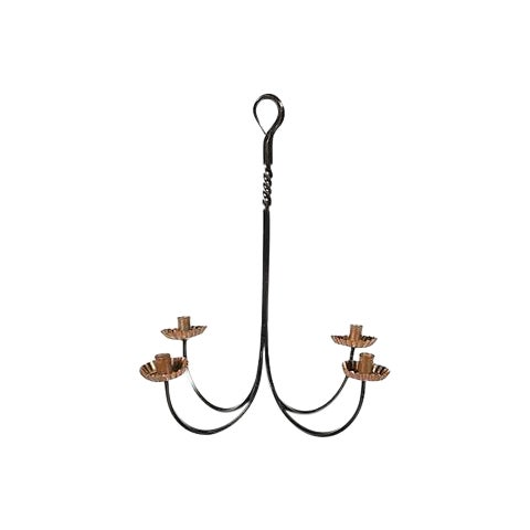 Iron and Copper Hanging Candleholder For Sale